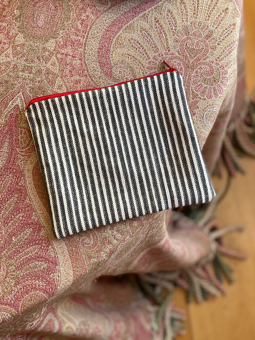 Black and White Striped Pouch (cotton lined)