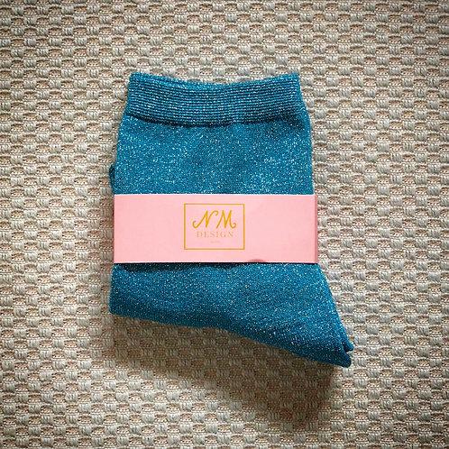 Blue Glitter Socks
