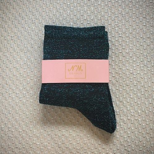 Navy Blue Glitter Socks