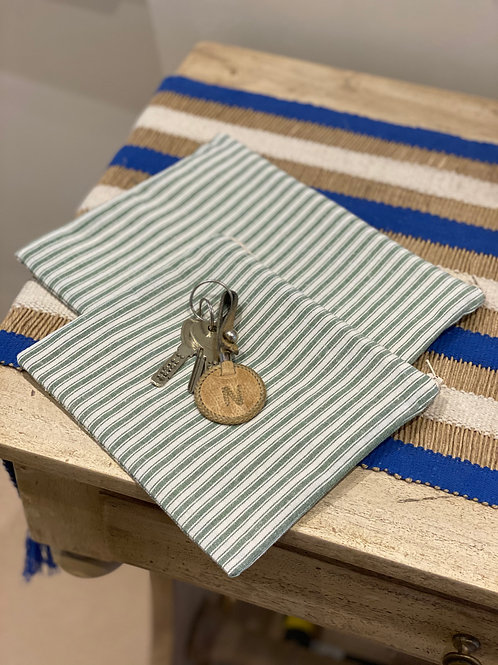 Green & White Ticking Stripe Pouch (Cotton Lined)