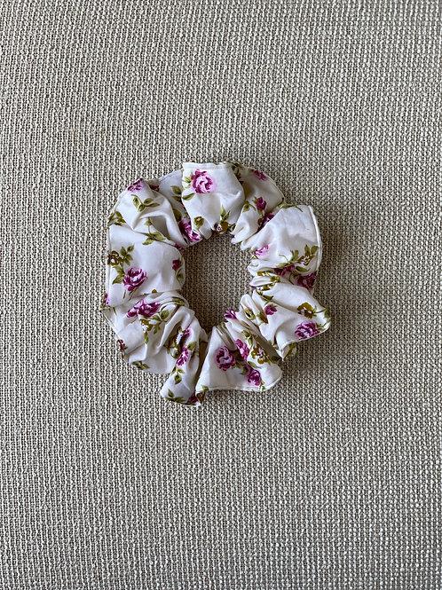 Cotton Pink Floral Hair Scrunchie