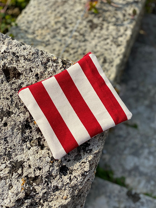 Red and White Canvas Pouch (cotton lined)