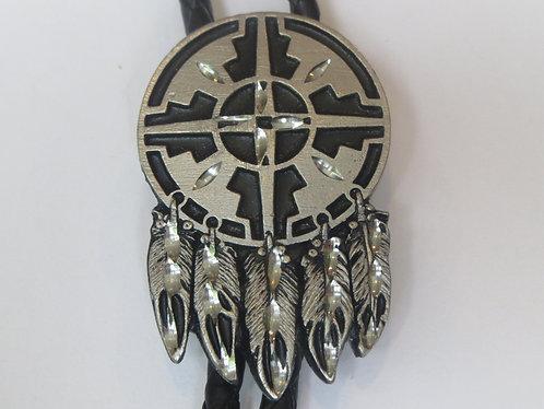 Vintage Siskiyou Diamond Cut Shield with Black Enamel Bolo Tie