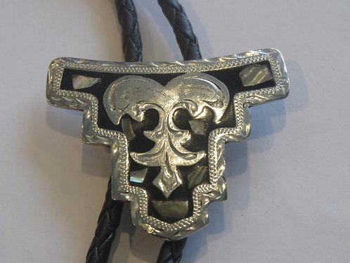 Vintage Alpaca Silver Abalone  Mexico Mexican Bolo Tie