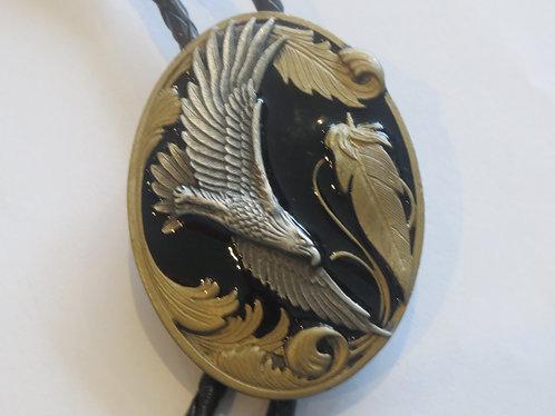 Vintage Siskiyou Eagle Hawk with Black Enamel Bolo Tie