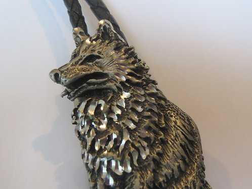 Vintage EJC Diamond Cut Wolf Dog Bolo Tie IC Lot D