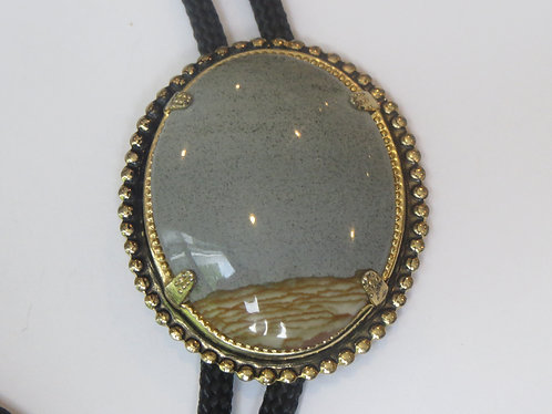 Handcrafted Gray Beige Desert Agate in Gold Tone Setting Bolo Tie