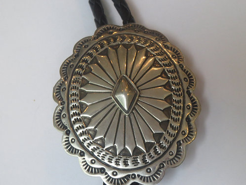 Vintage Sterling Silver Signed Mexico Mexican Concho Bolo Tie