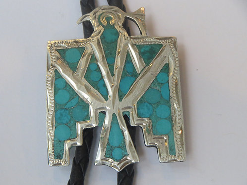 Vintage Sterling Sterling  Silver Signed Mexico Mexican Thunderbird Bolo Tie