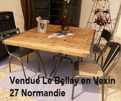 Table et chaises 8P métal et bois