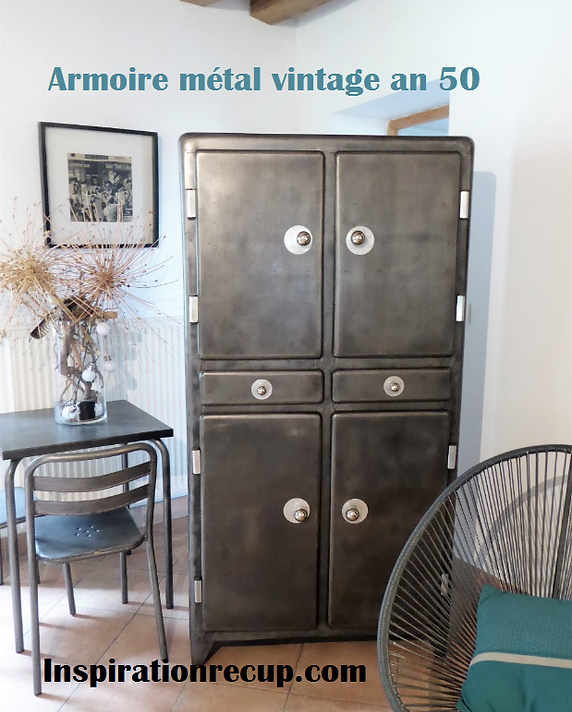 armoire mtal vintage with armoire metallique occasion. Black Bedroom Furniture Sets. Home Design Ideas