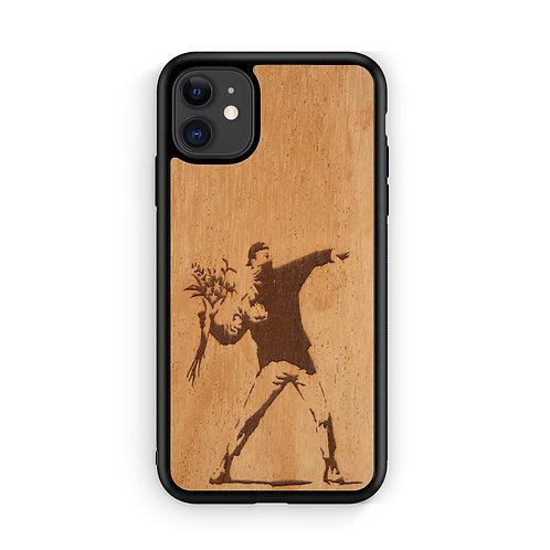Slim Wooden Phone Case (Banksy Molotov Flowers in Mahogany)