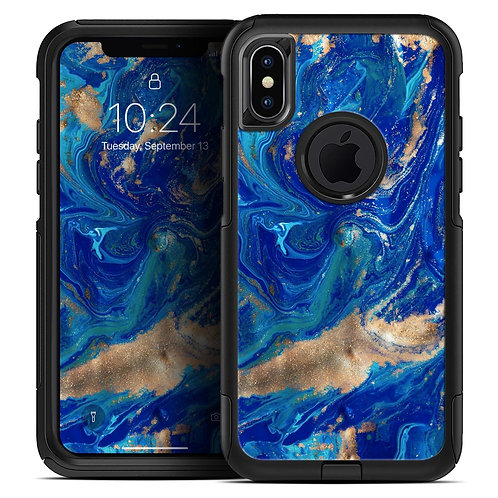 Vivid Blue Gold Acrylic - Skin Kit for the iPhone OtterBox Cases