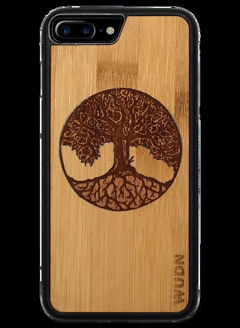 Slim Wooden Phone Case (Tree of Life Inlay With Bamboo & Mahogany)