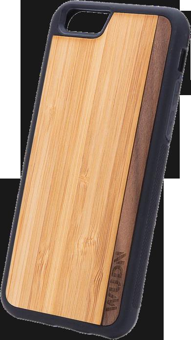 Slim Wooden Phone Case (Bamboo / Walnut Stripe)