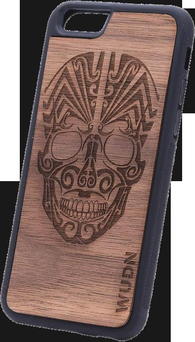 Ultra-Slim Wooden Phone Case (Tribal Skull)