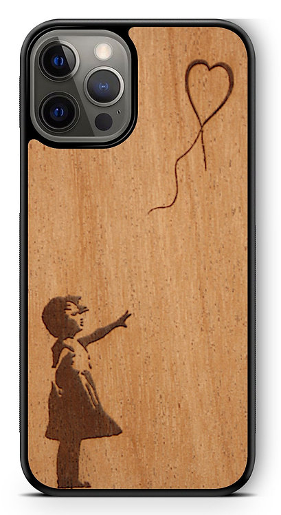 Slim Wooden Phone Case (Banksy Girl With a Balloon in Mahogany)