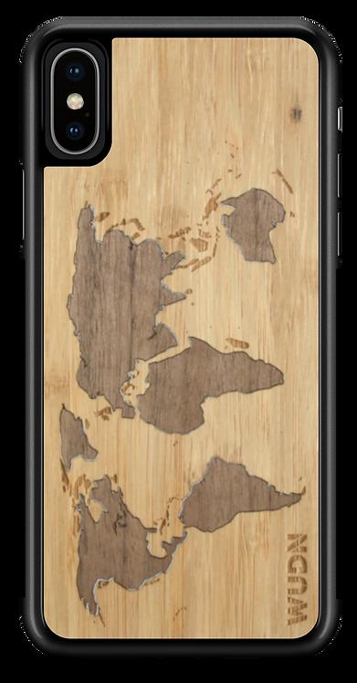 Slim Wooden Phone Case (Bamboo Inlay - World Map Traveler)