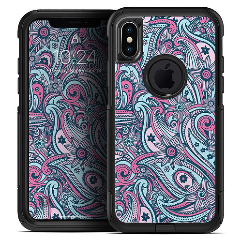 Seamless Mint and Pink Sprout - Skin Kit for the iPhone OtterBox Cases