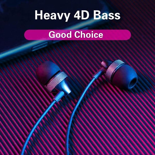 Universal 3.5mm Wired In-Ear Headset Supper Bass Metal Earbuds Earphone Misic He