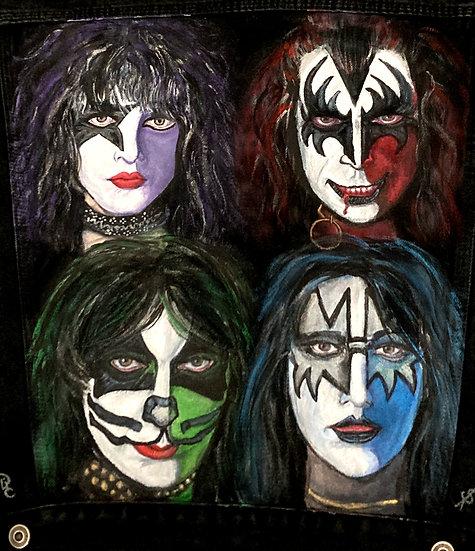 KISS Rock Band hand painted jacket Men's size Medium