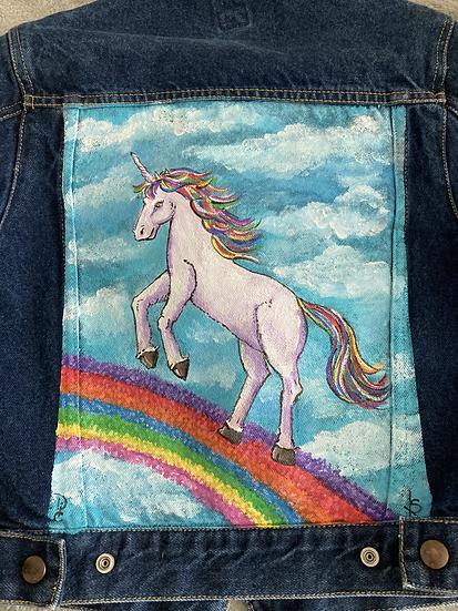 Rainbow Unicorn Hand Painted Denim Jacket Girl's size Medium