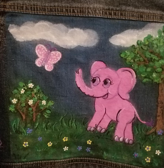 Pink Elephant hand painted denim jean jacket girls size S 4