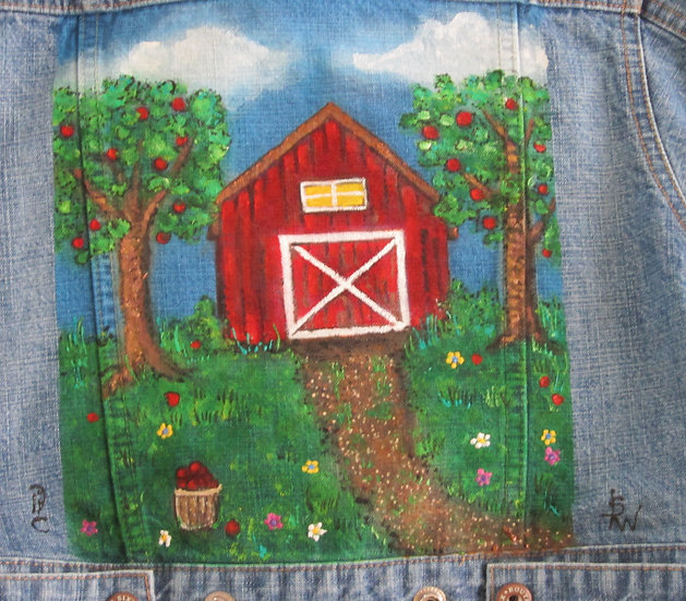 Apple Farm Hand painted Jacket Girl's size 6/6x
