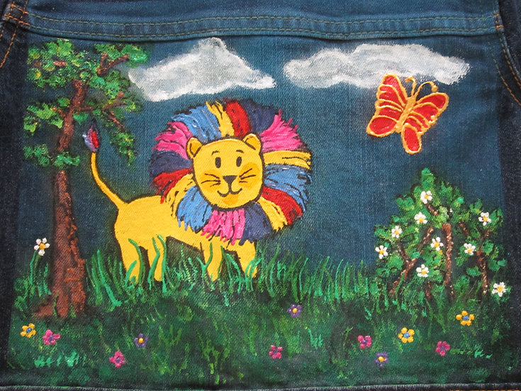 Colorful Lion Hand painted Jacket Girl's size XS