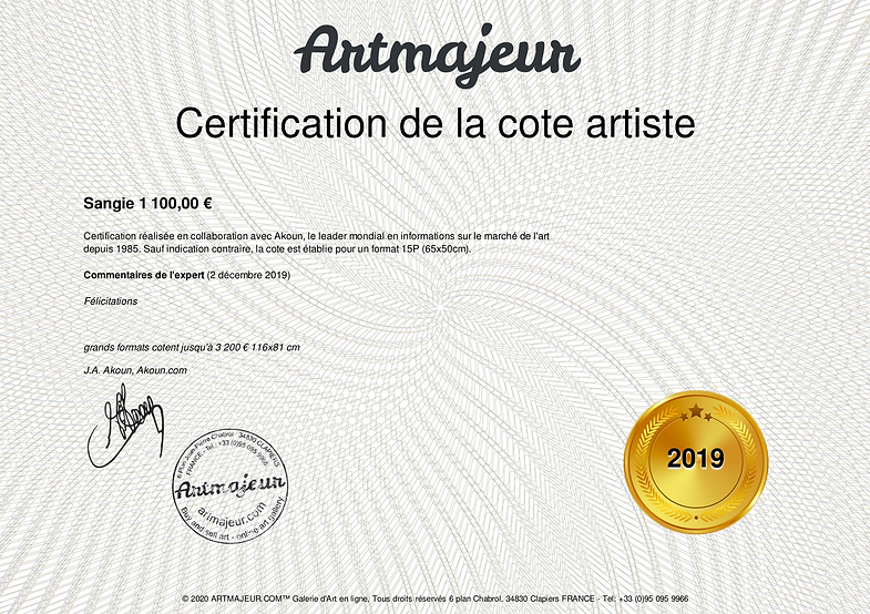 Certification cotation artiste peintre S