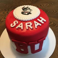 6 inch fondant grad cake with school mas