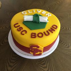 9 inch fondant covered grad cake