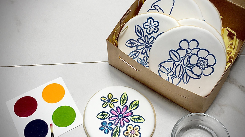 Paint Your Own Cookie Gift Set - Flowers
