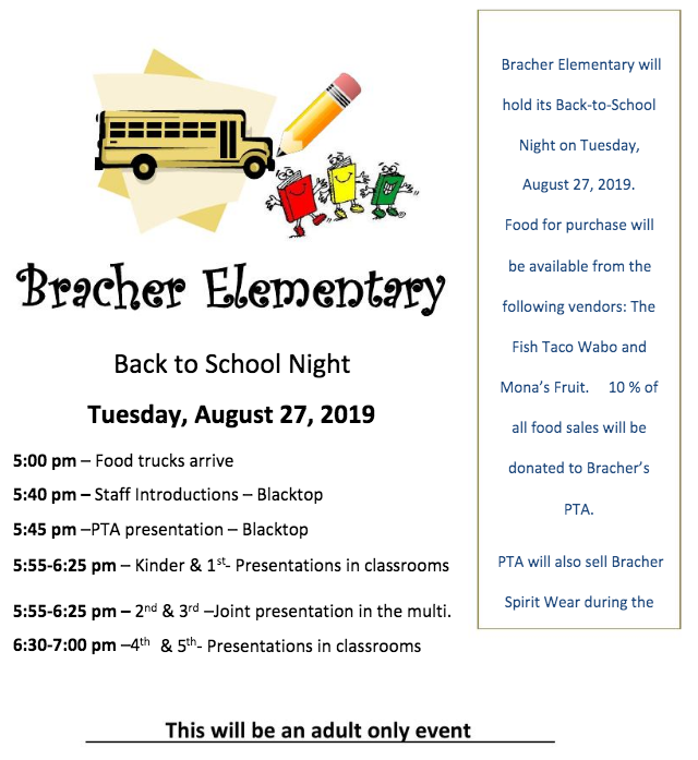 Bracher Back-to-School Night