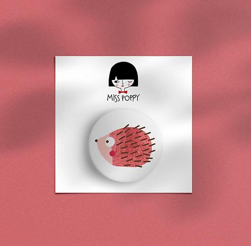 Red Hedgehog Pin Badge