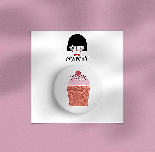 Pink Cupcake Pin Badge