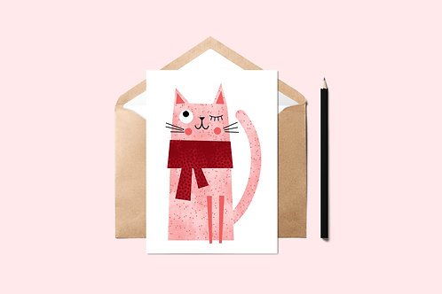 Red Winter Cat Card