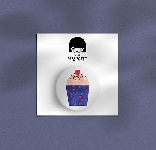 Blue Cupcake Pin Badge