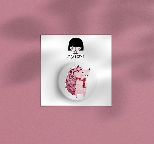 Pink Hedgehog Pin Badge