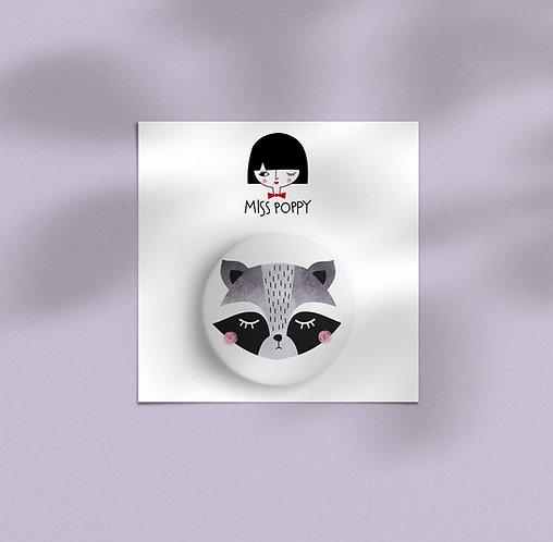 Raccoon Pin Badge