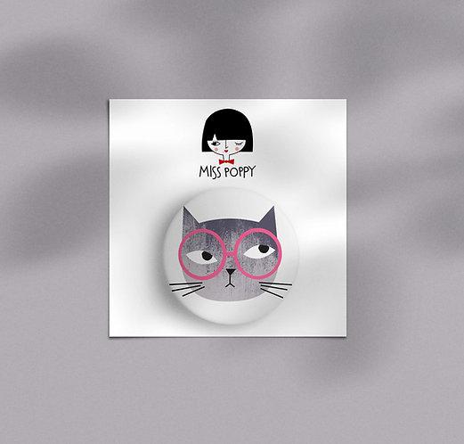 Gray Cat Pin Badge