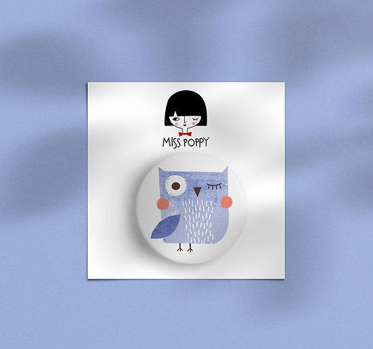 Lavanda Owl Pin Badge