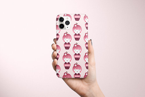 Kokeshi Pattern Phone Case