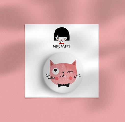 Cute Pink Cat Pin Badge