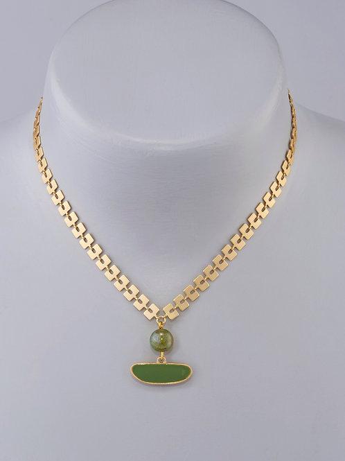 Galet vert perlé