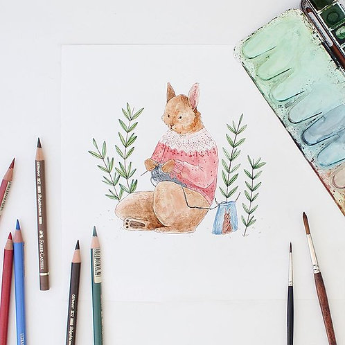 Knitting Rabbit | Coloring Page