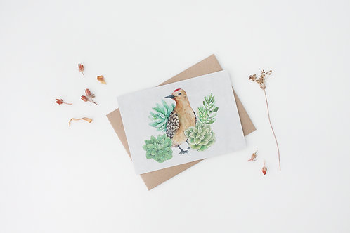 Woodpecker with Succulents Art Print
