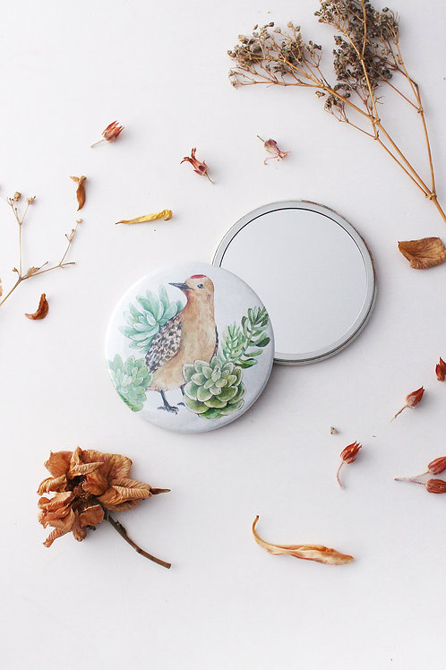 Bird with Succulents Pocket Mirror