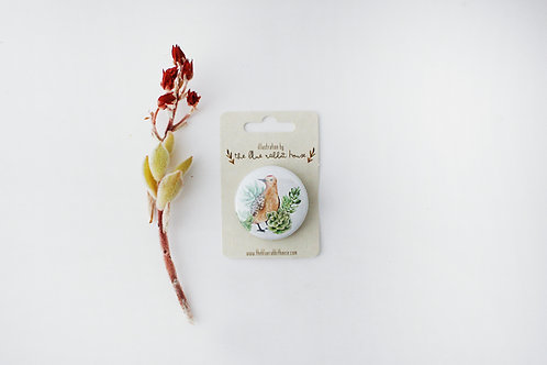 Bird with Succulents Button Badge