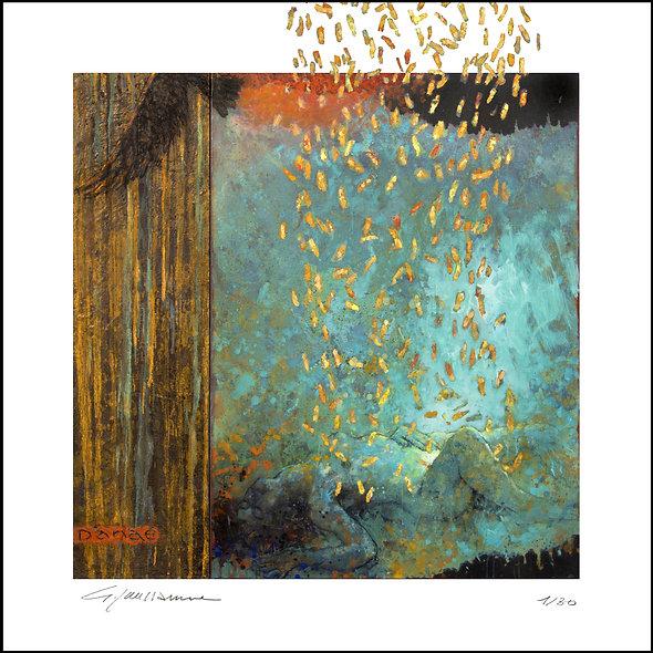 """Georges Joussaume n°25 """"Pluie D'or""""60x60cm"""